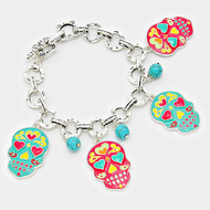 """resell for 60.00 or more • Color : Antique Silver, Multi, Turquoise • Theme : Halloween  • Size : 7.5"""" + 1"""" L, 1.75"""" L • Enamel Day of the Dead Mexican Sugar Skull Charm Bracelet Style #PTDDB121217g"""
