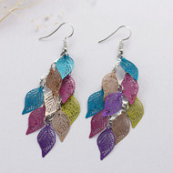 """resell for 12.00 or more Filigree Stamping Earrings Leaf Hollow Multicolor Enamel 81mm(3 2/8"""") Style #LLCMCLE121317g"""