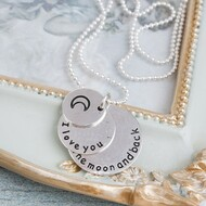 """resell for 9.00 or more Antique Silver & Silver Plated Crescent Moon Double Horn Round Message """" I Love You To The Moon And Back """" 50cm(19 5/8"""") long Style #ILYMBN121417g"""