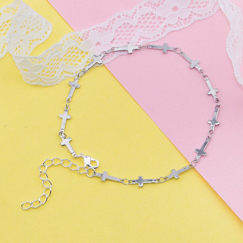 """resell for 9.00 or more 304 Stainless Steel Anklet Silver Tone Cross 21.5cm(8 4/8"""") long Style #SCA121417g"""