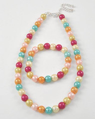 "resell for 21.00 or more Kids / Silver Tone / Multi Color Synthetic Pearl / Lead&nickel Compliant / Kids Necklace & Stretch Bracelet  •   LENGTH : 14"" + EXT •   DROP : 1/4"" L  •   RHODIUM/MULTI Style #CPMCNS122717g"