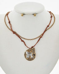 """resell for 30.00 or more Says There is always hope Antique Burnished Gold Tone / Brown Cord / Lead Compliant / Metal / Post (earrings) / Multi Strand / Butterfly & Flower / Layer / Necklace & Earring Set Style #BCBNS122717g  •   LENGTH : 17"""" + EXT •   PENDANT : 1"""" X 1 1/8"""" •   EARRING : 3/16"""" DIA  •   B.GOLD/BROWN"""