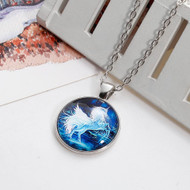 """resell for 12.00 or more Glass Necklace Silver Tone White & Blue Unicorn Round 51.5cm(20 2/8"""") long Style #UPBN122917g"""
