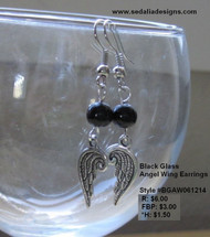 Black Glass Angel Wing Earrings