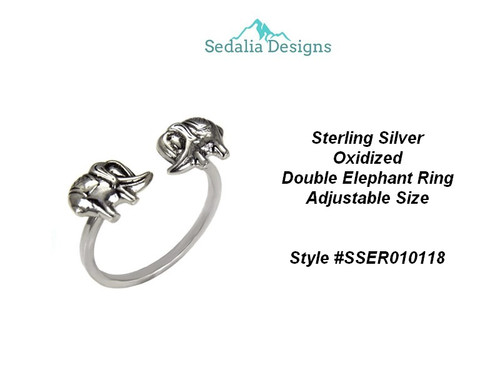 Sterling Silver Oxidized Double Elephant Ring Adjustable Size   Style #SSER010118