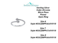 Sterling Silver  Cubic Zirconia Micro Pave Flower Open Ring  Size 6