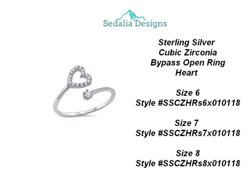 Sterling Silver  Cubic Zirconia Bypass Open Ring Heart  size 8