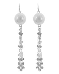 """resell for 27.00 or more Silver Tone / White Synthetic Pearl / Lead&nickel Compliant / Metal / Fish Hook / Dangle / Earring Set  •   WIDTH X LENGTH : 1/2"""" X 3 1/2""""  •   SILVER/WHITE Style #PDTE010218g"""