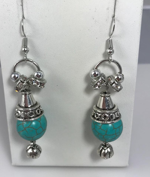Resell for 18.00 or more Boho chic Turquoise magnesite Pewter, crystal Surgical steel ear wires 2 inch drop Style #BCCMDE010418g