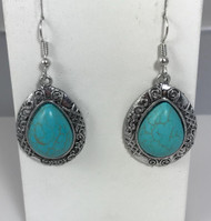 Resell for 18.00 or more Boho chic  Turquoise magnesite 2 inch drop surgical steel earwires, pewter Style #BCTMTE010418g