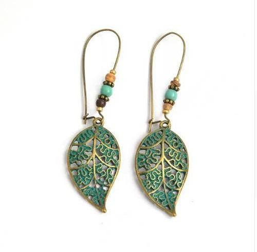 resell for 15.00 or more Boho Chic Brass Patina Leaf  Turquoise Magnesite 3 inches long Style #BLE010618g