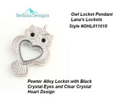 Owl Locket with Heart Design.  Pewter Alloy, crystal and magnetic closure