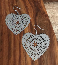 Resell for 10.00 or more Laser lace heart 2 inch x 2 inch Surgical steel ear wires Style #LLCH011318g