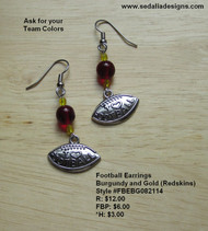 Burgundy and Gold I Love Football Earrings; bauble sold separately