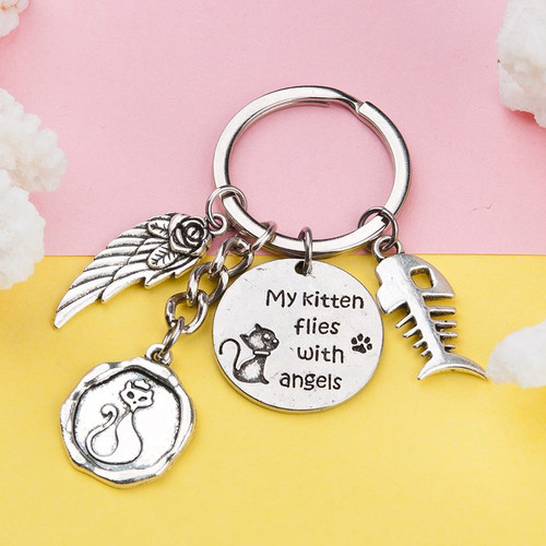 "resell for 9.00 or more Pet Memorial Keychain & Keyring Fish Bone Antique Silver Cat Message Wing 7.5cm(3"") x 3cm(1 1/8"") Style #KMK011818g"
