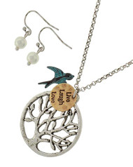 """resell for 30.00 or more  Burnished Silver Tone & Burnished Gold Tone / Lead&nickel Compliant / Patina Metal / Fish Hook (earrings) / Animal / Bird / Message / Tree Pendant / Necklace & Earring Set  •   LENGTH : 19"""" + EXT •   PENDANT : 1 1/4"""" X1 1/2"""" •   EARRING : 3/4""""  •   BURN.SILVER Style #LLLMMNS012918g"""