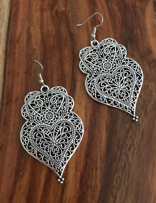 Resell for 12.00 or more Pewter boho chic heart Surgical steel earwires 2 3/8 inch x 1 4/8 inch Style #BCHE020118g