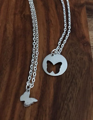 Resell for 15.00 or more Mother daughter butterfly necklace set Pewter butterfly  1 is 16 inch 1 is 20 inch Style #COBNS020218g