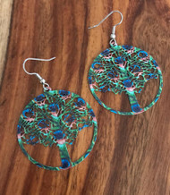 Resell for 10.00 or more Enameled peacock design on tree of life Laser lace Surgical steel ear wires Style #BPLLTE020218g