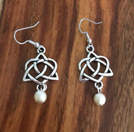 Resell for 6.00 or more Pewter Celtic heart knot Cream matte glass pearls  Surgical steel ear wires Style #CKHPE020218g