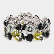 """resell for 27.00 or more Burnished Silver Tone / Black Acrylic / Grey & Green Metal / Lead&nickel Compliant / Flower Cuff Bracelet  •   SIZE FREE : CUFF •   DIAMETER : 2 1/4 •   WIDTH : 1""""  •   ANTIQUE SILVER/BLACK Style #OBCCB020518g"""