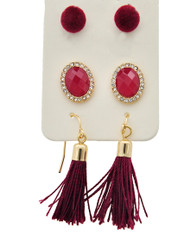 resell for 27.00 or more Gold Tone / Clear Rhinestone & Red Acrylic / Burgundy Velvet & Thread / Lead&nickel Compliant / Fish Hook & Post / Dangle & Button / Tassel / 3pair Earring Set / Packed Item Per Card  •   assort   •   GOLD/BURGUNDY Style #GBES020518g