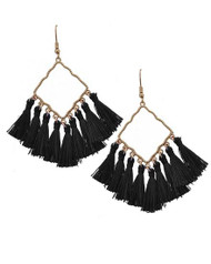"resell for 27.00 or more Worn Gold Tone / Black Thread / Lead Compliant / Fish Hook / Chandelier / Tassel Dangle / Earring Set  •   WIDTH X LENGTH : 1 1/4"" X 3""  •   GOLD/BLACK Style #BTGE021918g"