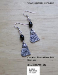 Cat Earrings with Black Glass Pearls