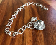 Resell for 12.00 or more Pewter teacup 7 3/4 inch long charm bracelet silver tone Style #TBC022218g
