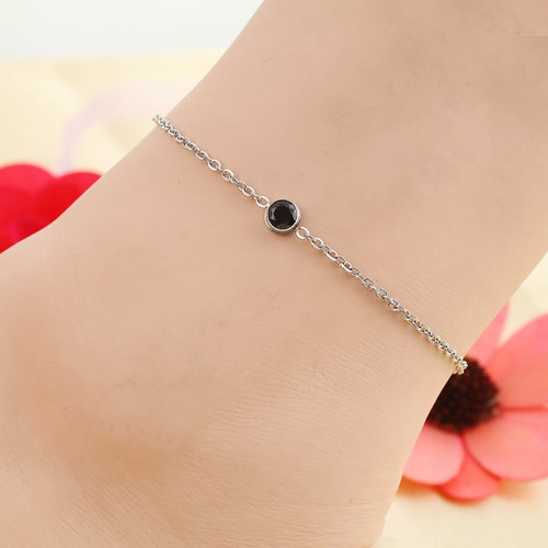 """resell for 15.00 or more Stainless Steel Anklet Silver Tone Round Black Rhinestone 23cm(9"""") long plus ext Style #BCAB022318g"""