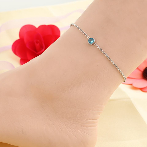 "resell for 15.00 or more Stainless Steel Anklet Silver Tone Round Blue Rhinestone 23cm(9"") long plus ext Style #SBCAB022318g"