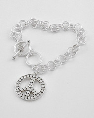 "resell for 21.00 or more Silver tone / Lead Compliant Metal / Toggle Closure / Peace Charm / Chain Bracelet /  •   8.5"" L   •   ANTIQUE SILVER Style #SPSB022718g"
