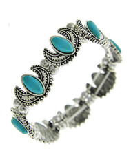 """resell for 30.00 or more Burnished Silver Tone / Turquoise Stone/ Lead Compliant / Stretch / Bracelet / •   SIZE FREE : STRETCH •   WIDTH : 1/2""""  •   B.SILVER/TURQUOISE Style #TSWSB022718g"""