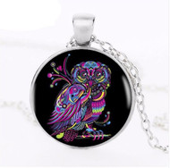 resell for 12.00 or more 20 inch silver tone chain plus ext. Bright color owl glass dome pendant Style #BON031518g