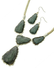"""resell for 27.00 or more Matte Silver Tone / Grey Acrylic / Lead&nickel Compliant / Metal / Fish Hook (earrings) / Y-neck / Necklace & Earring Set  •   LENGTH : 18"""" + EXT •   PENDANT : 2 1/8"""" X 2 1/2"""" •   EARRING : 7/8"""" X 2 1/4""""  •   SILVER/GREY Style #GSTNS032018g"""
