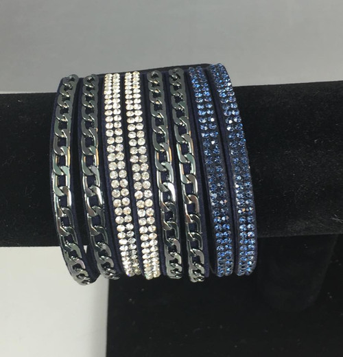 Resell for 18.00 or more Wrap bracelet, single, wide,  snaps Gunmetal and blue Fits 7 inch Style #NBHCB032318