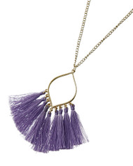 """resell for 27.00 or more Gold Tone / Purple Thread / Lead&nickel Compliant / Metal / Tassel Long Necklace  •   LENGTH : 30 1/2"""" + EXT •   PENDANT : 2 1/2"""" X 3 1/4""""  •   PURPLE  Style #PTGTN032618g"""