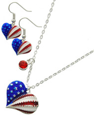 """resell for 36.00 or more Silver Tone / Multi Color Epoxy & Red Rhinestone / Lead&nickel Compliant / Metal / Fish Hook (earrings) / Patriotic Heart  / Delicate / Heart / Necklace & Earring Set  •   LENGTH : 16 1/2"""" + EXTY •   PENDANT : 1"""" X 1"""" •   EARRING : 1/2"""" X 1""""  •   SILVER  Style #PHS032718g"""
