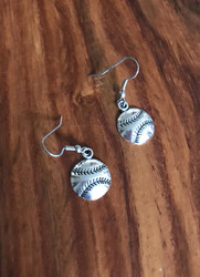 Resell for 6.00 or-more Pewter baseball Surgical steel ear wires Style #BBE040618g