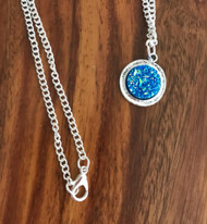 Resell for 12.00 or more Bright blue drusy Pewter bezel 18 inch silver tone chain Style #BBDN041218