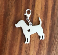 Resell for 12.00 or more Stainless steel engrave-able Beagle bauble Lobster clasp charm Style #EBBD041318