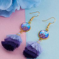"""resell for 15.00 or more Resin Mermaid Fish/ Dragon Scale Earrings Gold Plated Purple AB Rainbow Color Multilayer Tassel Round 73mm(2 7/8""""), Post/ Wire Size: (21 gauge) Style #PMTE041318"""
