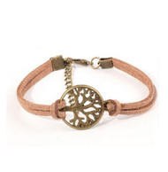 resell for 9.00 or more brown suede antique bronze tree of life bracelet 6.5 inch long plus ext. Style #BSTLB041318