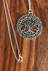 "Resell for 12.00 Or more Pewter tree of life 1.5"" x 1.5"" 24 inch rolo chain silver tone Style #TLPN041718"