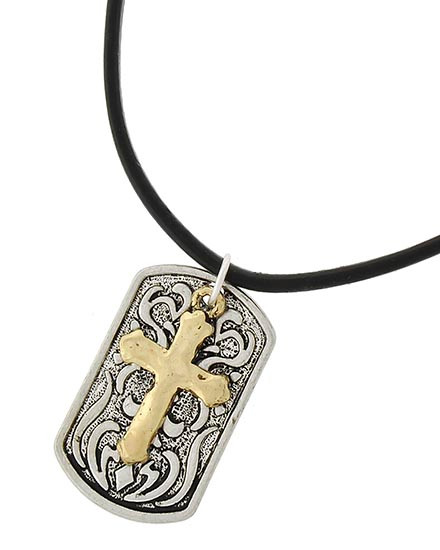 """resell for 33.00 or more Two-tone / Black Leatherette Cord / Lead&nickel Compliant / Metal / Filigree / Cross Pendant / Necklace  •   LENGTH : 22"""" •   PENDANT : 1"""" X 1 1/2"""" •   GOLD/BLACK/SILVER  Style #TTCDTLN041818"""