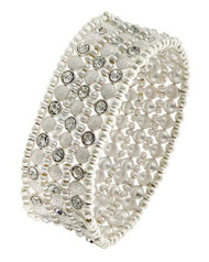 """resell for 55.00 or more Matte Silver Tone / Clear Rhinestone / Lead&nickel Compliant / Metal / Stretch / Bracelet Fits 7 to 8 inch •   SIZE FREE : STRETCH •   WIDTH : 1 1/8"""" •   MATT SILVER  Style #MSCB041818"""