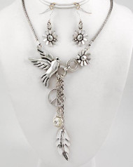 "resell for 33.00 or more Antique Silver Tone Metal / Clear Glass / Lead&nickel Compliant / Animal / Bird & Flower Faced / Assorted Charm Necklace & Fish Hook Earring Set /  •   LENGTH : 23"" +EXT •   EARRING : 2"" L •   DROP : 5 3/4"" L	 •   A.SILVER/CLEAR  Style #BLNS041818"