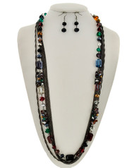 """resell for 33.00 or more Hematite Tone / Multi Color Glass Crystal / Lead&nickel Compliant / Fish Hook (earring Set) / Multi Strand / Long Neck & Earring Set / •   LENGTH : 32"""" + EXT •   EARRING : 1/2"""" X 1 3/4"""" •   HEMATITES/MULTI Style #HMSLN041818"""