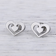 """resell for 9.00 or more 304 Stainless Steel Ear Post Stud Earrings Silver Tone Heart 11mm( 3/8"""") x 9mm( 3/8""""), Post/ Wire Size: (21 gauge) Style #SHPE041918"""