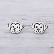 """resell for 9.00 or more 304 Stainless Steel Ear Post Stud Earrings Silver Tone Monkey Animal 10mm( 3/8"""") x 7mm( 2/8""""), Post/ Wire Size: (21 gauge) Style #SMPE041918"""